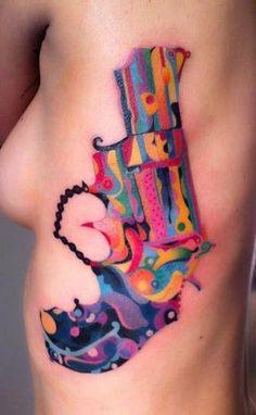 Colorful Revolver Tattoo