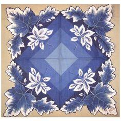 Vintage Hanky Blue White Handkerchief Leaf Motif Hand Painted