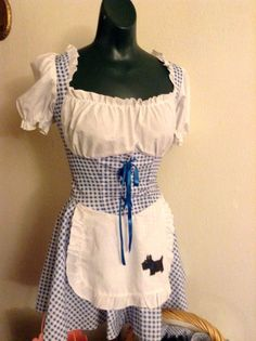 """$45 DOROTHY COSTUME sz M  w/Toto Basket, bucket for Water, shoes hair ribbons 2 OZ handpupperts. Measurements:  lying flat (unstretched) Armpit to armpit: 17"""" (stretch is NOT within fabric but on top of the bodice the elastic is stretchy.)  Please note: there is extra cup--a B or C maybe--size in the gathered white bodice section. Waist:  15"""" Hips:  free length from top of shoulder to bottom hem:  30"""""""