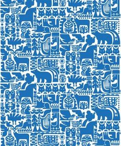 Marimekko Kanteleen Kutsu Upholstery Fabric This gorgeous folkloric pattern was created by new Marimekko designer Sanna Annukka. Kanteleen Kutsu depicts a scene from the Finnish classic, The Kalevala, in which animals gather to hear Väinämöinen . Motifs Textiles, Textile Patterns, Textile Design, Fabric Design, Print Patterns, Surface Design, Pattern Texture, Marimekko Fabric, Marimekko Wallpaper