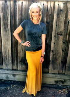 Jersey Long Maxi Skirt for only $18.50! Style it with a vintage tee and layer with leggings for the winter.