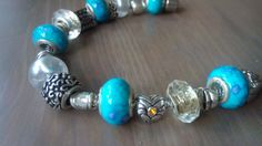 Bracciale in Argento Tibetano Donna con Perle Beads Bead a foro largo tipo Pandora Bracciale, Bracciale no Pandora, Bracciale Pandora, Bracciali tipo Pandora, Perle tipo Pandora
