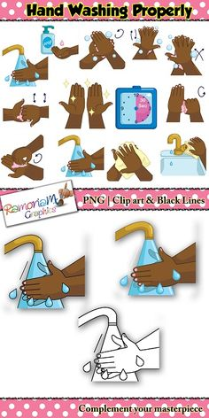 This washing hands Clip art set was designed using the WHO correct hand washing recommendation as a guide. I have used dark skin hands for this particular set but also have a fair skin version. #ramonam #ramonamgraphics #kidsapproved #WHOhandwashing #handwashing #washinghands #handwashingclipart #washinghandsclipart #cleanhandsclipart #cleanhands #howtowashhands