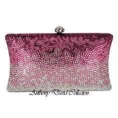 This Anthony David pink crystal evening bag has a solid brass metal frame with a silver electroplated finish. The crystals are all hand-set in an Ombre' effect design. The pink, fuchsia light pink ...