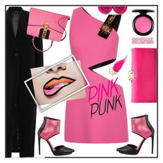 """""""pink punk"""" by katymill ❤ liked on Polyvore featuring FAUSTO PUGLISI, Rick Owens, Betsey Johnson, Liliana, Ted Baker, Gucci and MAC Cosmetics"""