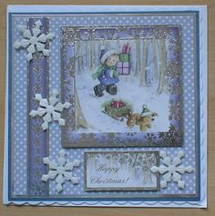#Hunkydory #create and craft #spellbinders  The colour of this image and backing card is quit contemporary and has made a very pretty card,The topper and background card are from the Hunkydory 4 day deal on create and craft. I have also used spellbinders dies and cut snowflakes in white glitter card.