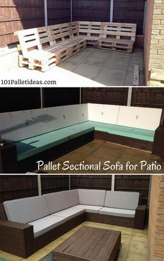 DIY #Pallet Sectional #Sofa for Patio - Self-Installed 8-10 Seater - 1001 Pallet Ideas #palletfurniturecouch