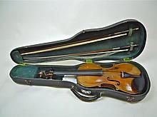 Cased German Violin and F.K Voirin Bow, 19th C. WWW.JJAMESAUCTIONS.COM