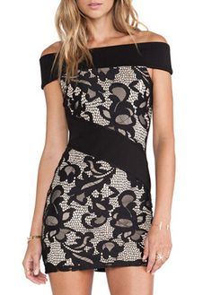 Lace Short Sleeve Boat Neck Dress