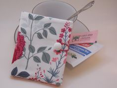 Join me for tea????? Sweet grey, pink, and plum floral print tea wallet by MyPetitBisous on Etsy