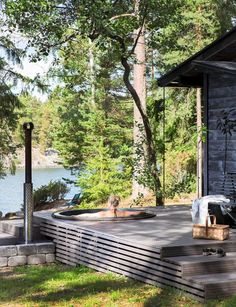 Backyard Patio, Backyard Landscaping, Jacuzzi, Summer Cabins, Cabins And Cottages, River House, Cabin Homes, Cabins In The Woods, Bungalow