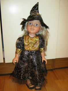 Doll's Clothes Halloween Witches Costume.