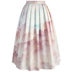Chicwish Balloon My Day Printed Midi Skirt ($49) ❤ liked on Polyvore featuring skirts, bottoms, saias, pink, pink skirt, pink midi skirt, mid calf skirts, calf length skirts and midi skirt
