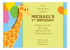 Your child is turning seven, and you need to find a card that properly commemorates the occasion. Luckily this Birthday Giraffe Invitation by Heatherly is also a 7th birthday invitation. This card is perfect for children who love animals, and are getting to be just as tall as a giraffe! They grow up so fast. This invite has a blue polka dot background, and a beige panel for placing and creating the personalized text that will inform guests with the details on the birthday party. A big…