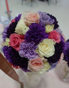 Flower Ball Pomander of roses and carnations by MEWS-Designs Wedding Florist, Raleigh, NC