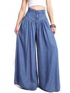 Trendy Women Super Wide Leg Denim Pants Jeans Baggy Flowy High Waist Flared USA The post Trendy Women Super Wide Leg Denim Pants Jeans Baggy Flowy High Waist Flared USA appeared first on Jean. Wide Leg Denim, Wide Leg Pants, Wide Legs, Blue Denim, Wide Leg Palazzo Pants, Ankle Pants, Denim Pants, Harem Pants, Baggy Trousers