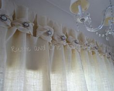 Burlap Curtains- Tea dyed rosettes- Wide Tabs  Thank you for stopping by my rustic and chic shop!  ....Burlap, what a simple and natural fabric that will highlight your dining room, bedroom or sunroom! You can also adorn these in your patio!  Simple, ecogreen....with a romantic touch... A tea dyed fabric rosette...  Made in a smoke free environment ...from my hand to yours....  We can talk about your special order...just convo me.  Listing price is for ONE PANEL and that includes: 40 across…