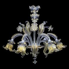 Classic style chandelier (Murano glass) GOLDEN CENTURY: ART. L0086-6 Murano glass artistic chandelier completely handmade, classic venetian style, particularly rich and lavish. Clear color with pure gold details, flowers and leaves. A caldo decorations. Lighting products, glass chandeliers made according to requirements, our professionals will assist you in customizing necessary parts such as color of the glass, number of lights and details.