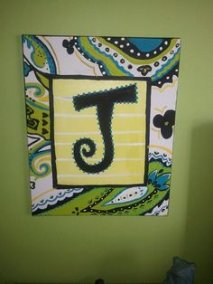 Initial on Canvas Initial Canvas, Canvas Letters, Big Letters, Letter J, Painted Letters, Letters And Numbers, Painted Signs, Diy Canvas, Canvas Art