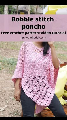 Poncho Au Crochet, Bobble Stitch Crochet, Crochet Poncho Patterns, Crochet Shawls And Wraps, Beginner Crochet Tutorial, Easy Crochet, Crochet Capas, Crochet Videos, Crochet Clothes