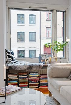 window seat with books