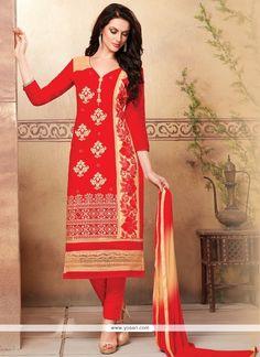 Jazzy Resham Work Cotton   Churidar Designer Suit Model: YOS7256