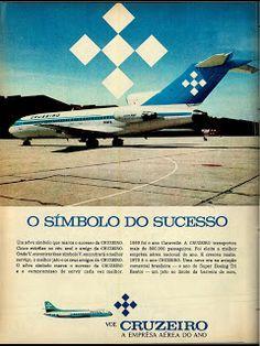 anúncio empresa aérea cruzeiro de 1970