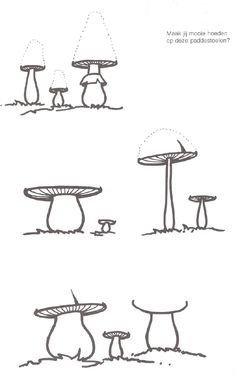 Paddenstoelen hoeden tekenen
