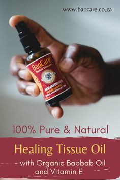 Moisturise and hydrate your skin with this All-Natural Tissue Oil made with Baobab Oil as it's key ingredient! It can be massaged into scarring, stretch marks and dry skin on your face or body after bath time - and then watch its magic work! Perfectly safe for use during pregnancy and on babies, toddlers and on skin of any age! #baocareskincare #baobaboil #dryskinrelief #naturalcare #southafricanskincare #pregnancyskincare #naturaltissueoil #naturalsolutions #allskintypes #dryskinrelief Dry Skin, Your Skin, Baobab Oil, Natural Vitamin E, Key Ingredient, Natural Solutions, Stretch Marks, Bath Time, Natural Healing
