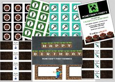 Minecraft Printable Party Set- Invitations, cupcake toppers, banner, food tags, bottle wraps, candy wrappers. $20.00, via Etsy.