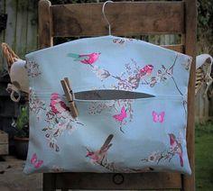 Blue Birds and Blossom Cotton Clothespin Bag / Peg Bag