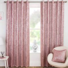 Create luxurious and glamorous style with sensuous blush pink crushed velvet; let the light shimmer seductively as you sink in to softness. Product Details Glamorous crushed velvet in beautiful blush pink tones Catherine Lansfield is renowned for style and quality and this is a glamorous statement piece developed and d Ready Made Eyelet Curtains, Wide Curtains, Printed Curtains, Hanging Curtains, Blackout Curtains, Curtains Dunelm, Kylie Minogue At Home, Room Darkening Curtains, Thermal Curtains