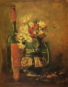 Vase with Carnations and Bottle by Vincent van Gogh #art