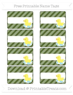 Free Dark Olive Green Diagonal Striped Baby Duck Name Tags