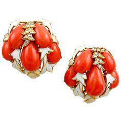 David Webb - 1960's DAVID WEBB Coral White Enamel Diamond Earrings - Yafa Signed Jewels