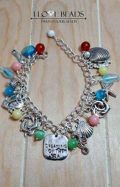 silver charm bracelet-beach charm bracelet-theme by ILoveBeads247