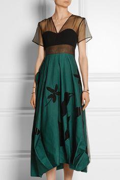 Jonathan Saunders|Constance silk-organza, linen and wool midi dress|NET-A-PORTER.COM