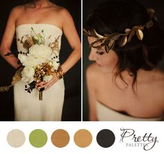 Heavy blacks with metallic gold details and accessories with ivory accents and just a tiny hint of green… it's beautiful!