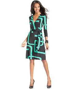 INC International Concepts Dress, Three-Quarter-Sleeve Printed Faux-Wrap - Womens Dresses - Macy's