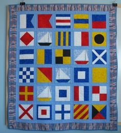 Baby Quilting Patterns Nautical Ideas For 2019 Quilt Baby, Nautical Baby Quilt, Boy Quilts, Nautical Theme, Quilting Projects, Quilting Designs, Quilting Ideas, Beach Themed Quilts, Alphabet Quilt