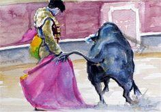 """Daily Paintworks - """"Toreando de verónica"""" - Original Fine Art for Sale - © Eduardo Carpintero"""