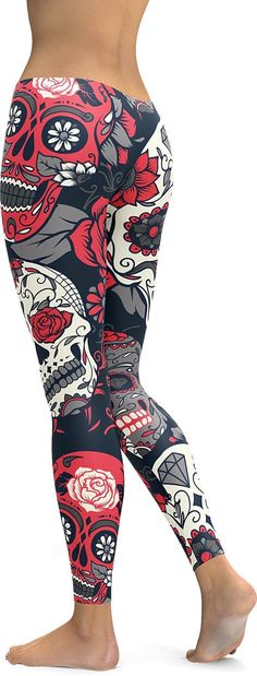 Straight from our Day of the Dead collection! These beautiful pink sugar skull leggings will absolutely make sure you will get many compliments while wearing them. The Skulls are positioned perfectly
