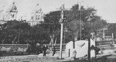 1905, Esquina de la Plaza Barrios con fuente, abrevadero de bestias (Mulas y Caballos)