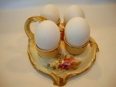 Amazing German Royal Bonn Earthenware 4 Egg Cups with Holder ~ Hand Painted with Orange, White and Purple Poppies ~ Franz Anton Mehlem Bonn Germany 1870-1920
