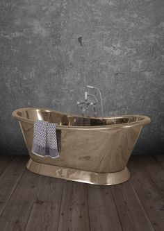 Freestanding baths from our Brass Bateau range. A brass roll top bath with a graceful shape. Cast Iron Bath, Copper Bath, Roll Top Bath, Brass Bathroom, Turkish Bath, Bathroom Accessories, Interior Design, Interior Ideas, Design Inspiration