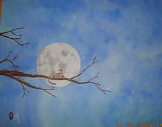Cat sitting on branch under the moon 11x14 acrylic on canvas by boocifer