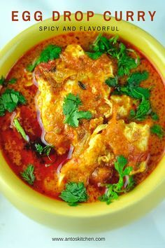 Egg drop curry with coconut milk.