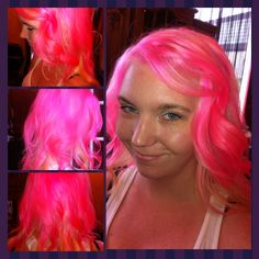 Cotton candy pink with blonde underneath.... Lala loopsy hair:)