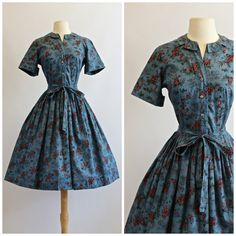 Vintage 1950s Novelty Print Dress  Vintage 50s by xtabayvintage