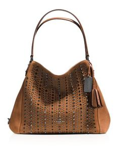 COACH All Over Studs and Grommets Edie Shoulder Bag 31 in Suede | Bloomingdale's